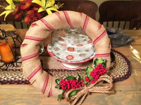 Handmade Burlap Christmas Wreathe