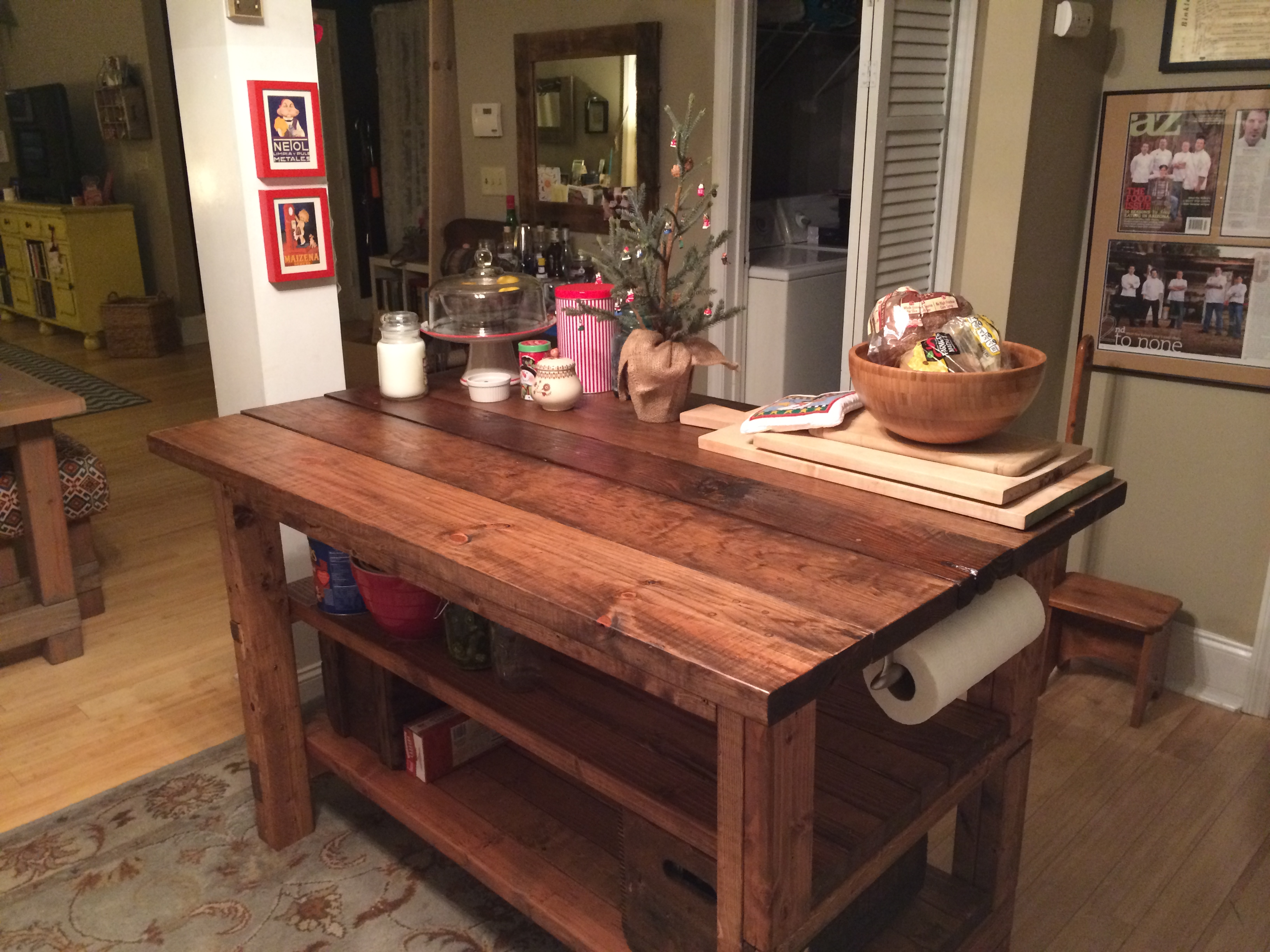 Hand built rustic kitchen island house food baby for Rustic kitchen island ideas