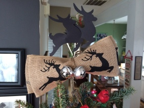 Burlap & Reindeer Tree Topper